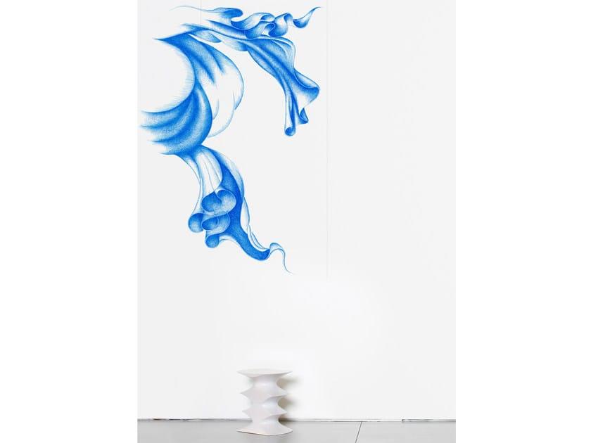 Non-woven paper wallpaper strip LIGHT BLUE by Moustache