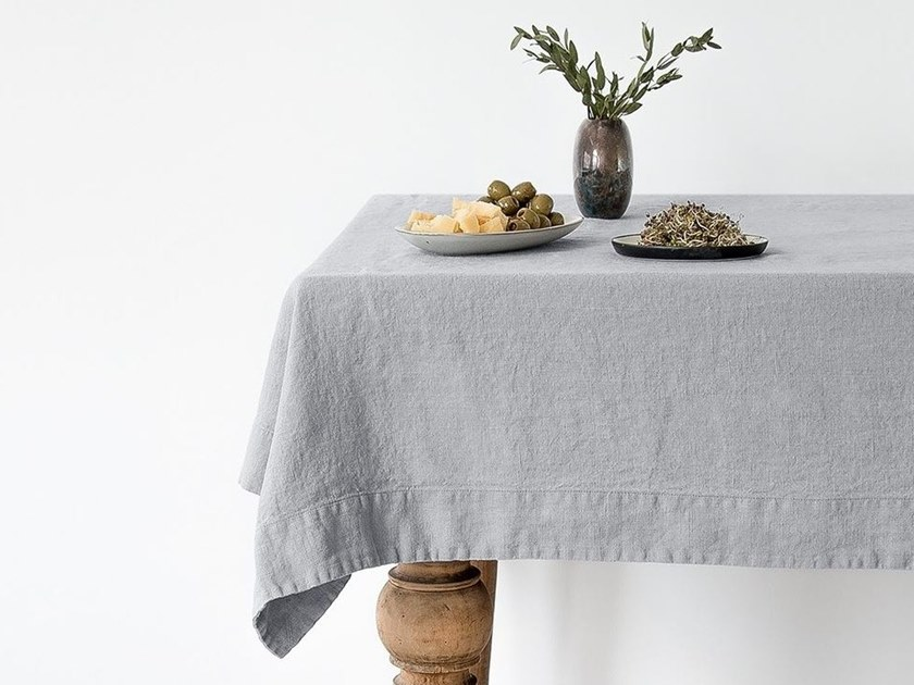 Washed linen tablecloth LIGHT GREY | Tablecloth by Linen Tales