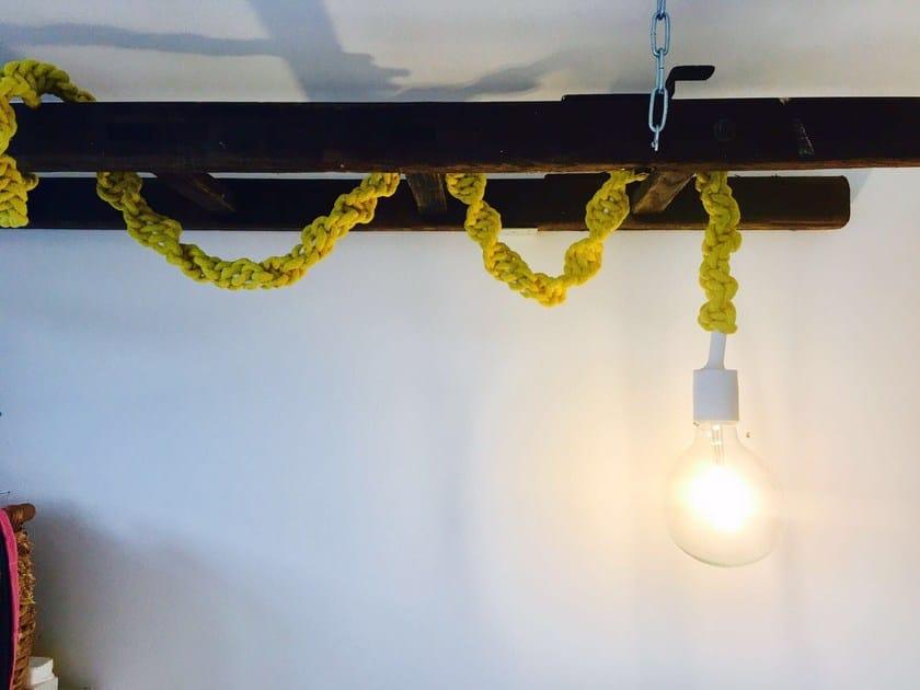 Handmade macramè pendant lamp LIGHTY YELLOW by Rope Studio London