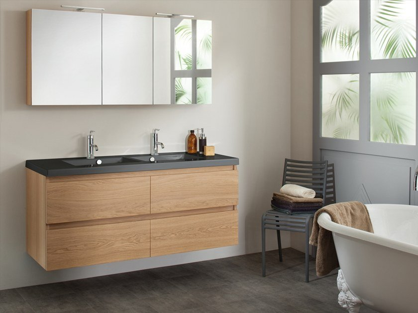 Double wall-mounted vanity unit with drawers LIGNUM by SANIJURA