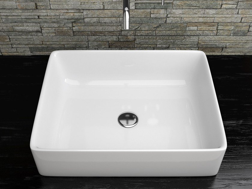 Countertop rectangular ceramic washbasin VANITY WASHBASINS | Rectangular washbasin by Olympia Ceramica