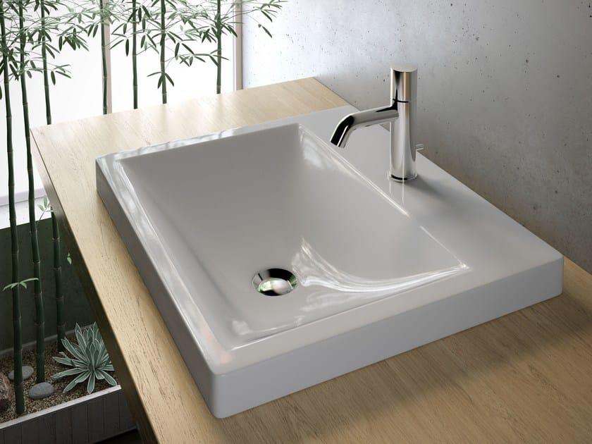 Contemporary style inset rectangular ceramic washbasin VANITY WASHBASINS | Inset washbasin by Olympia Ceramica