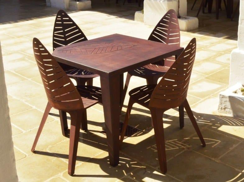 Square Corten™ garden table LILA_002 by TrackDesign
