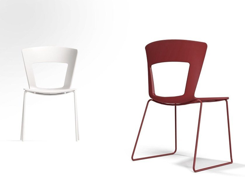 Sled base open back chair LILIA | Sled base chair by RIFLESSI