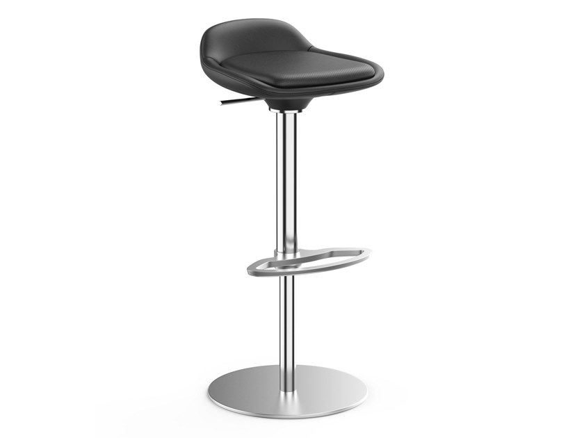 Leather office stool with footrest LIME IS5 LI780 | Leather office stool by Interstuhl