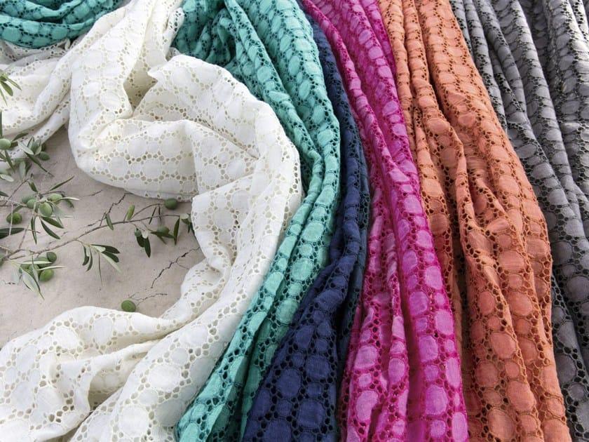 Embroidered linen fabric LIMONCELLO by Élitis