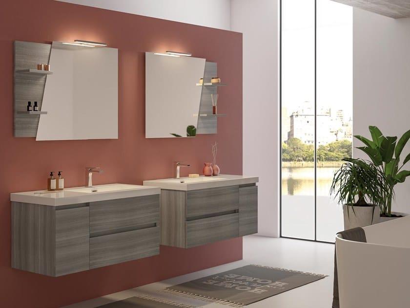 Mobile lavabo sospeso con ante con cassetti LINE 04 by LEGNOBAGNO