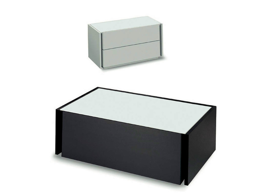 Lacquered wooden bedside table with drawers LINE | Bedside table by Fimar