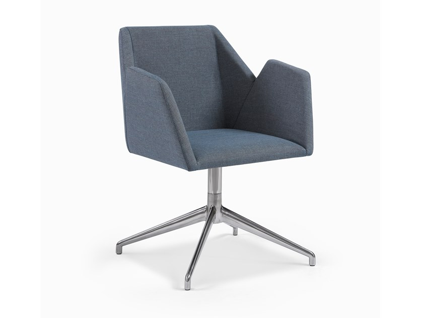 Upholstered fabric chair with 4-spoke base with armrests LINE CB METAL by Fenabel