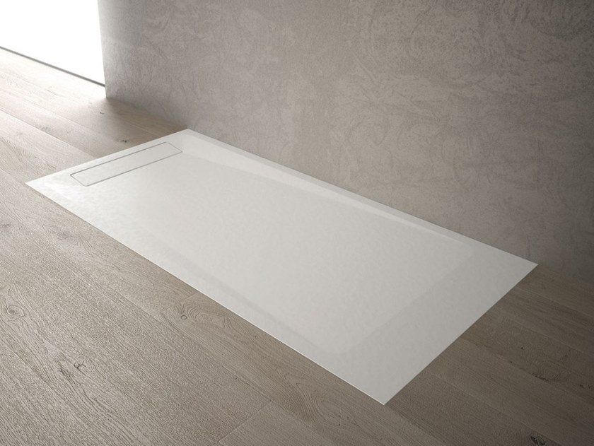 Built-in rectangular custom Technogel® shower tray LINEA by DISENIA