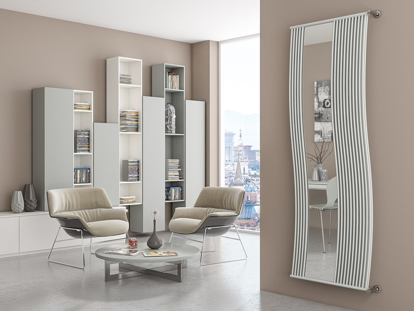 Vertical wall-mounted glass and steel decorative radiator LINEA DOPPIO RFX by XÒ by Metalform