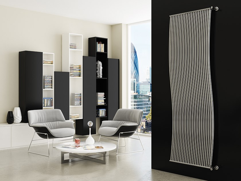 Vertical wall-mounted steel decorative radiator LINEA DOPPIO by XÒ by Metalform