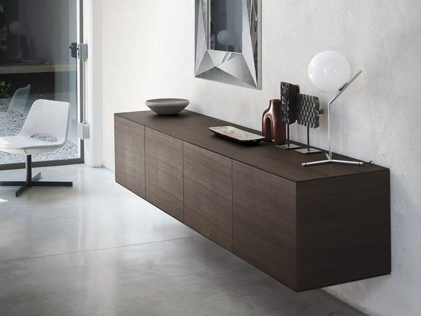 Cedarwood sideboard with doors LINEA by RIFLESSI