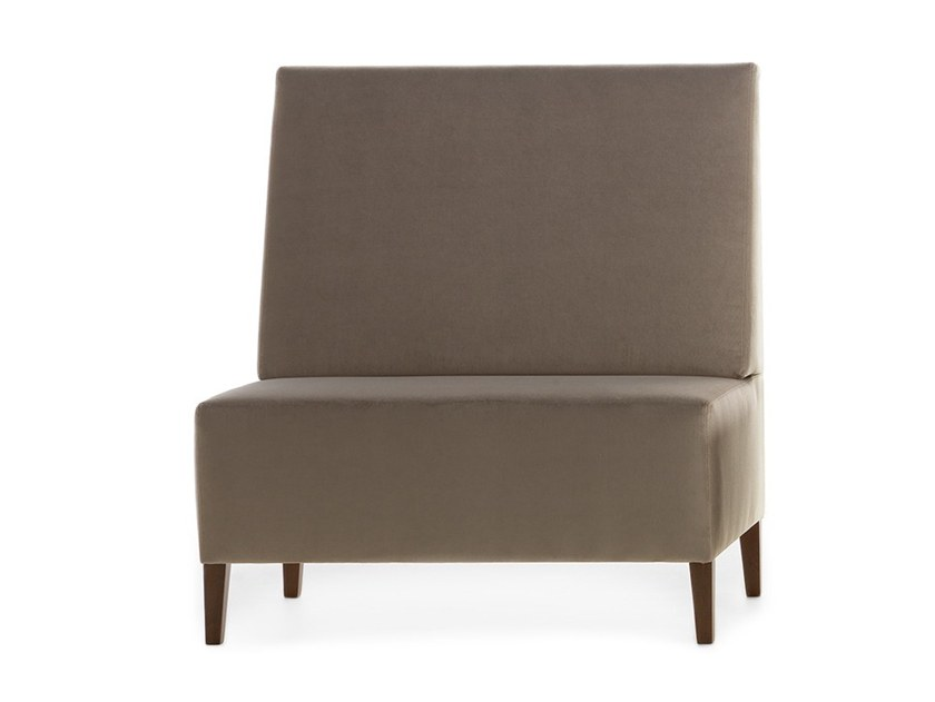 Upholstered modular high-back bench LINEAR 02451 by Montbel