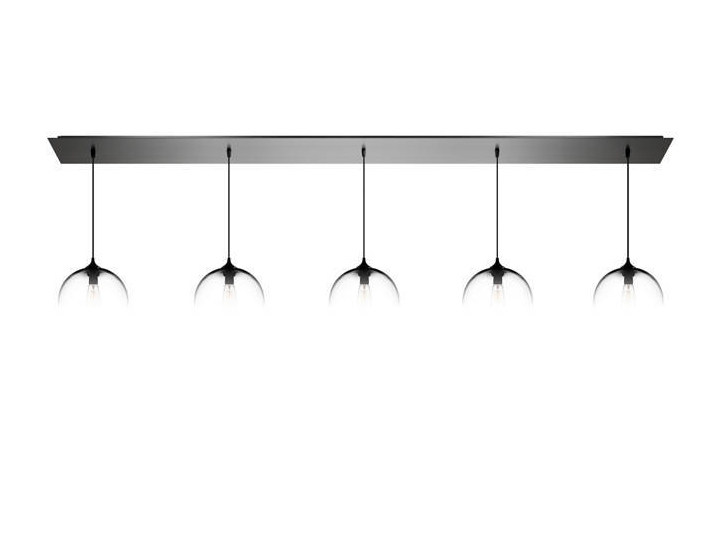 Direct light handmade blown glass pendant lamp LINEAR-5 by Niche Modern
