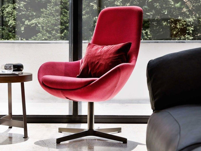 Swivel fabric easy chair with 4-spoke base high-back LINEAR | Fabric easy chair by Ditre Italia