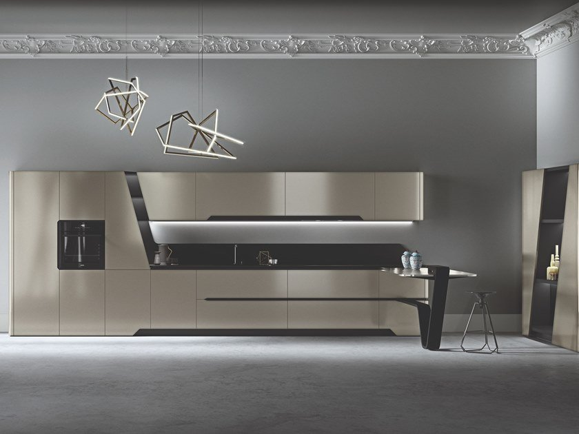 Fitted kitchen with peninsula VISION | Fitted kitchen by Snaidero