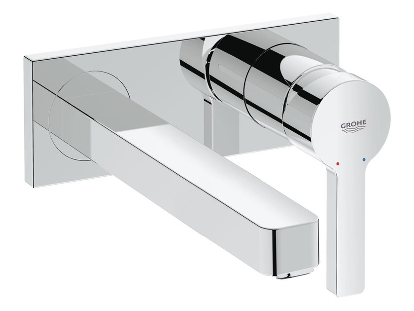 2 hole single handle washbasin mixer with plate LINEARE SIZE M | Wall-mounted washbasin mixer by Grohe