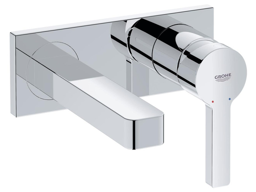 2 hole single handle washbasin mixer with plate LINEARE SIZE S | Wall-mounted washbasin mixer by Grohe