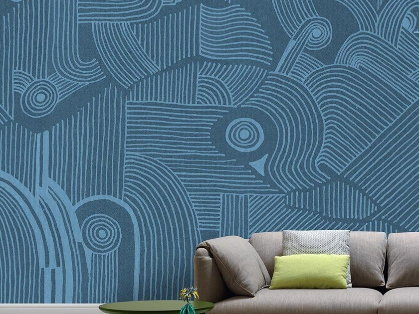 Industrial and modern wallpaper, PVC free, eco, washable LINEE DANZANTI by Wallpepper