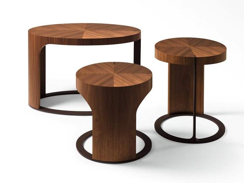 Round wooden coffee table LING | Round coffee table by GIORGETTI