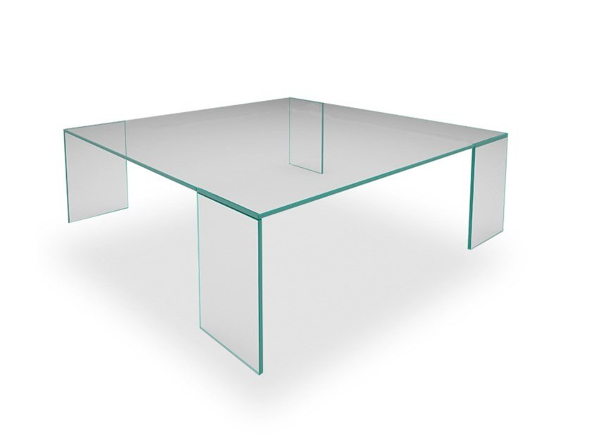 Low square glass coffee table LINK by EXENZA