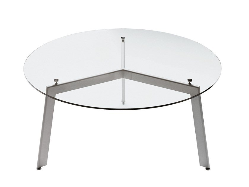 Round glass and steel table LINK | Round table by Desalto
