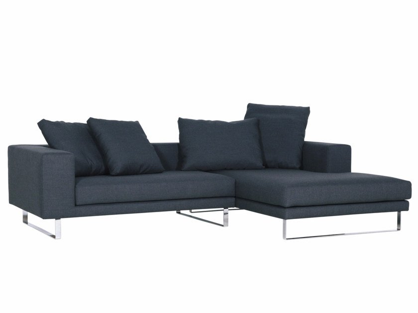 Upholstered 3 seater fabric sofa with chaise longue LINNEA | Sofa with chaise longue by SITS