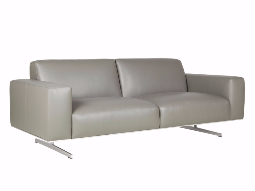 Upholstered 3 seater leather sofa LINUS | Leather sofa by SITS
