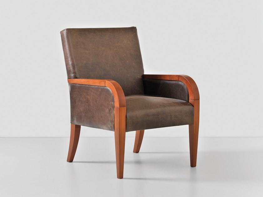 Upholstered leather armchair with armrests LIO by Hemonides