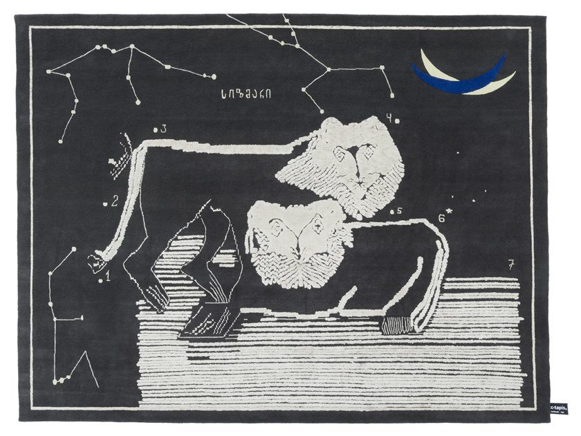 Handmade rectangular rug LIONS AT NIGHT by cc-tapis