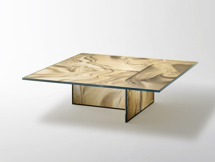 Low square crystal coffee table LIQUEFY | Square coffee table by Glas Italia