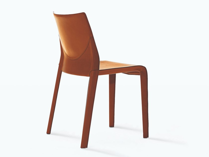 Tanned leather chair LISBONA | Tanned leather chair by Desalto