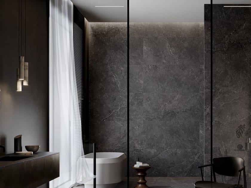 Porcelain stoneware wall/floor tiles with stone effect LITHOS CARBON by COTTO D'ESTE