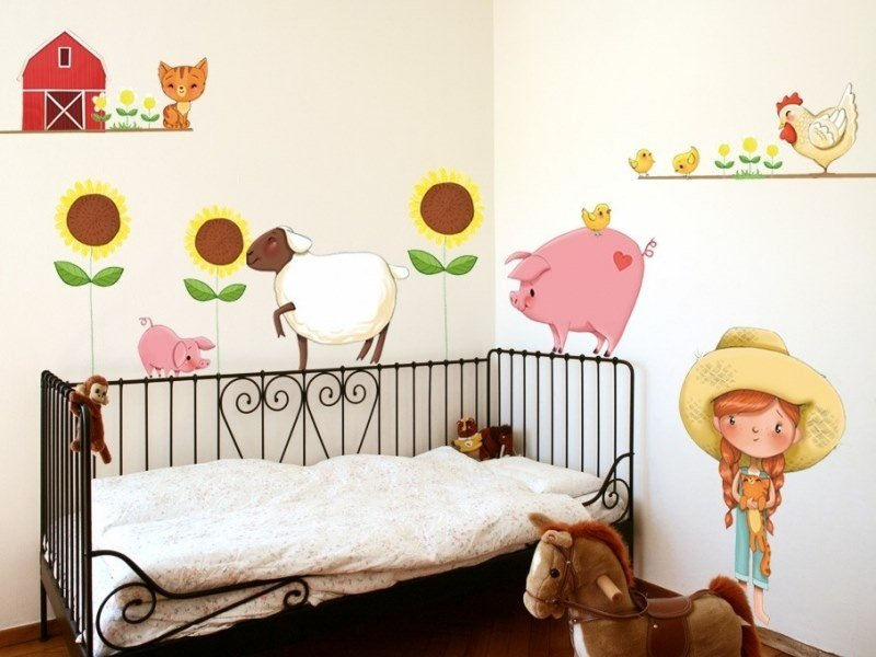 Kids wall sticker LITTLE GIRL ON THE FARM by ACTE-DECO