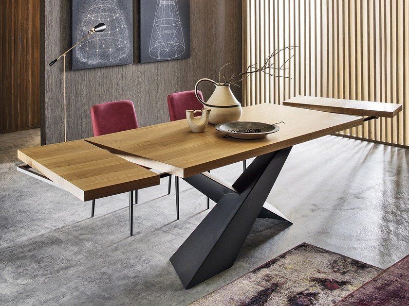 Rectangular wooden dining table LIVING - Graphite & Oak by RIFLESSI