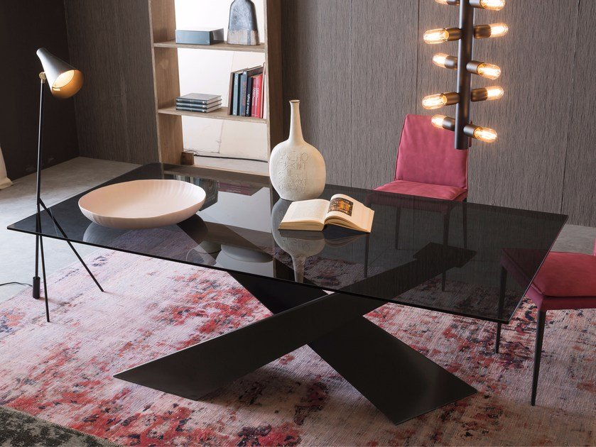 Rectangular crystal table LIVING - Graphite & Smoked Crystal by RIFLESSI