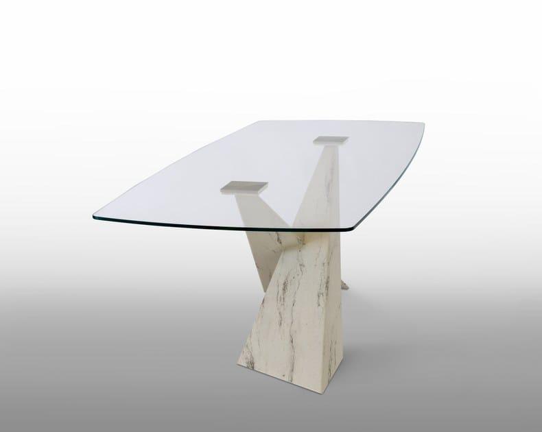 Tavoli In Pietra E Cristallo.Tavolo Rettangolare In Cristallo E Metallo Verniciato Living