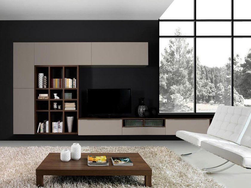 Wall-mounted wooden TV wall system LIVING01 by Kico