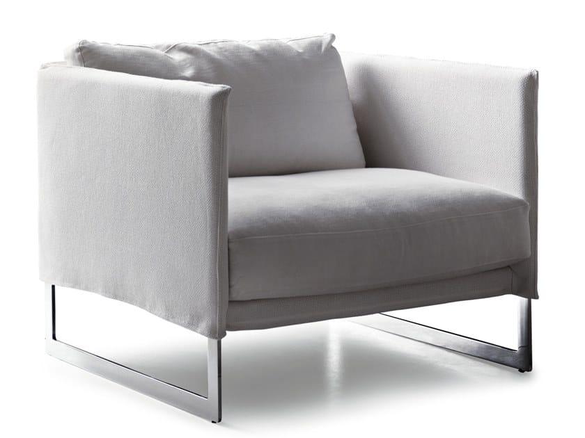 Sled base fabric armchair with armrests LIVINGSTON | Armchair by Saba Italia