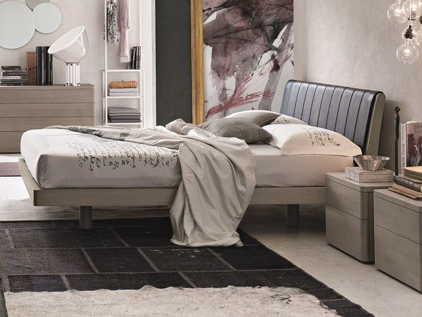 Ash bed double bed with upholstered headboard LIZ | Ash bed by Gruppo Tomasella
