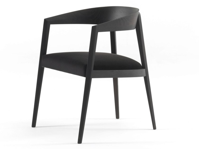 Wooden easy chair with armrests LIZZIE | Easy chair by Frigerio Salotti