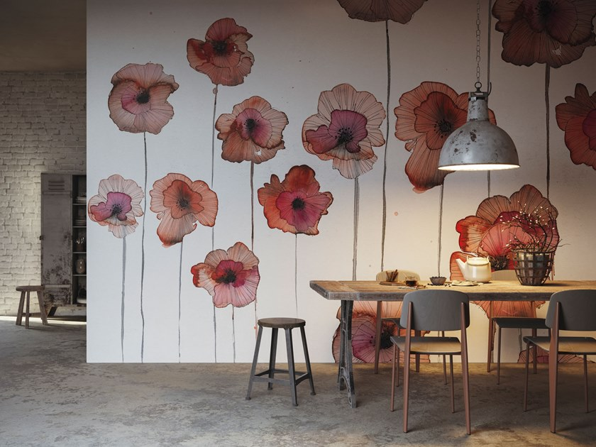Glass-fibre wallpaper with floral pattern LO SAI CHE by Tecnografica Italian Wallcoverings