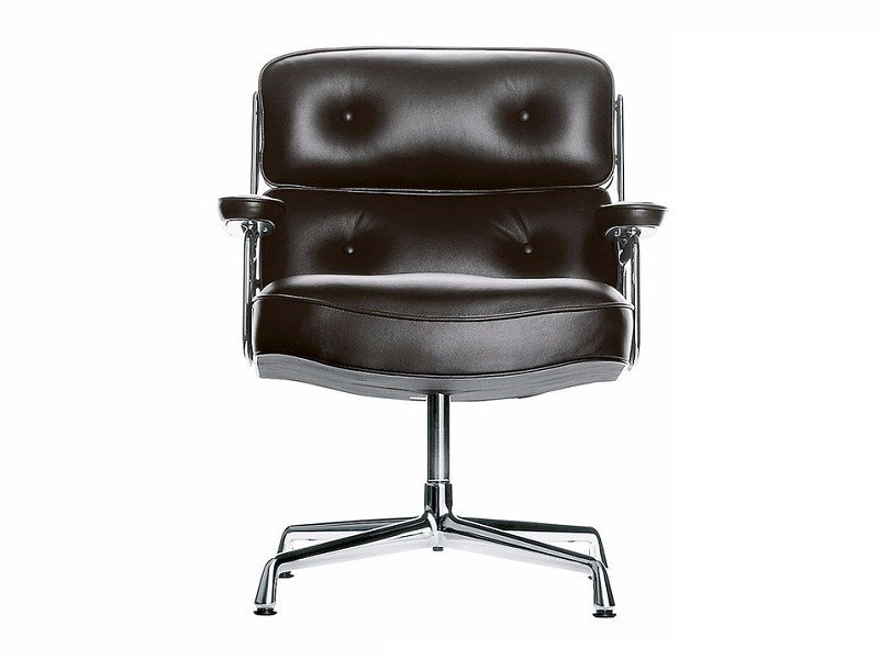 Upholstered leather armchair with armrests LOBBY CHAIR ES 105 by Vitra