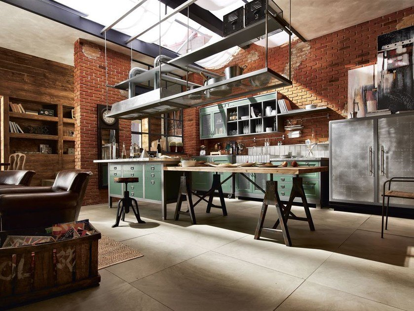 Fitted wood kitchen LOFT - COMPOSITION 01 by Marchi Cucine