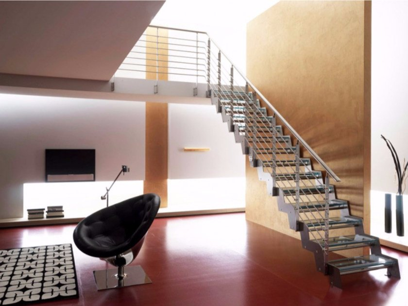 Self supporting straight glass Open staircase LOFT | Glass Open staircase by RINTAL
