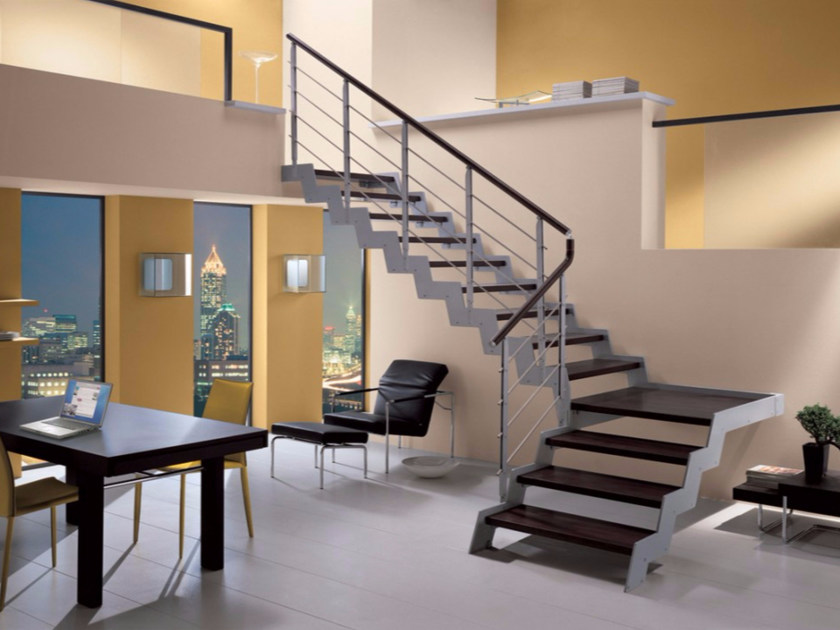 L-shaped self supporting beech Open staircase LOFT | L-shaped Open staircase by RINTAL