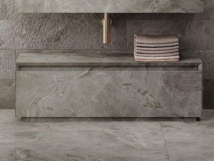 Low floorstanding porcelain stoneware bathroom cabinet LOFTY by Italgraniti