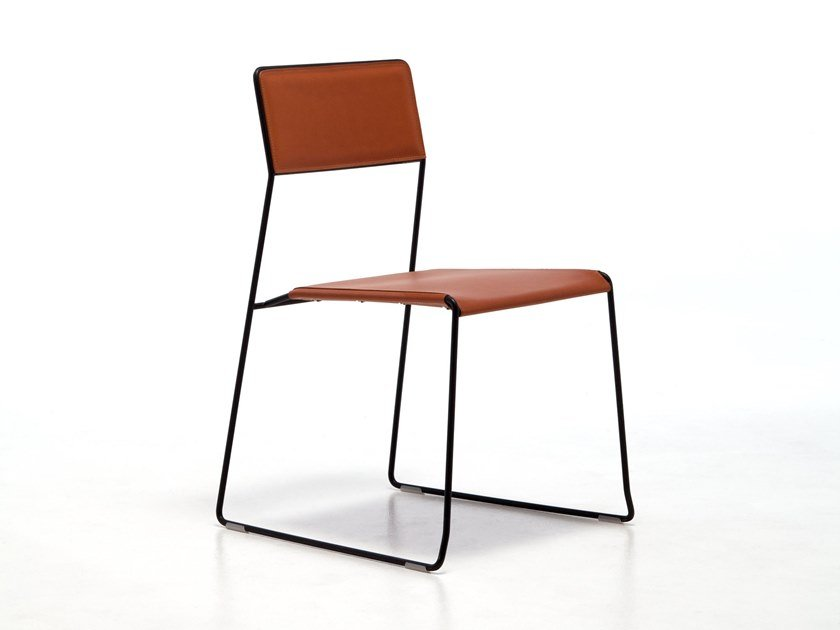 Sled base stackable chair in regenerated leather LOG PLUS | Chair by Inday
