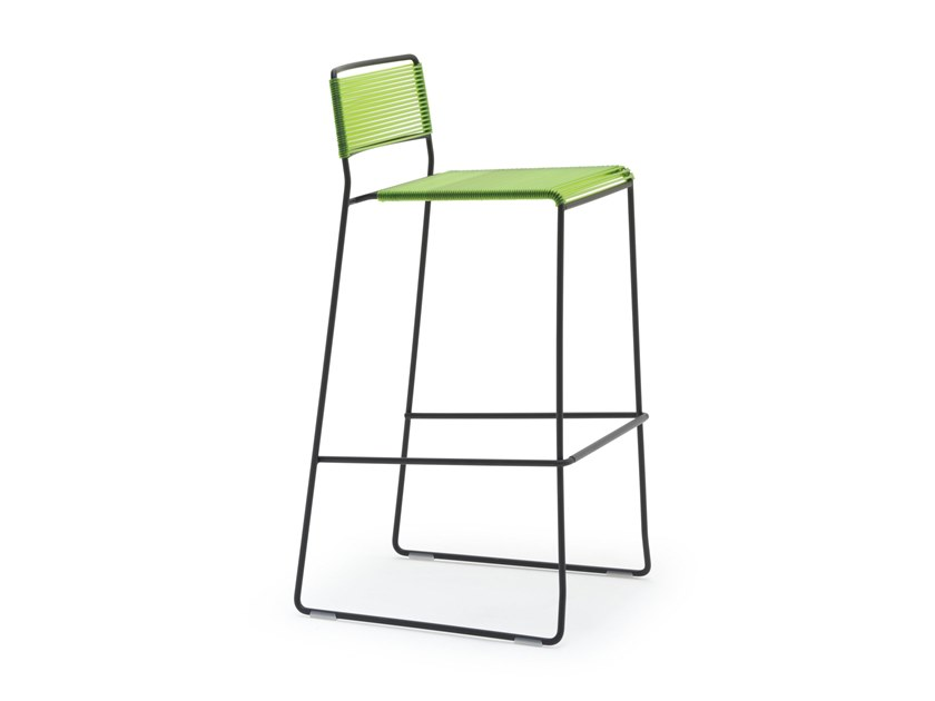 High sled base plastic rope garden stool LOG SPAGHETTI ST | High stool by Inday